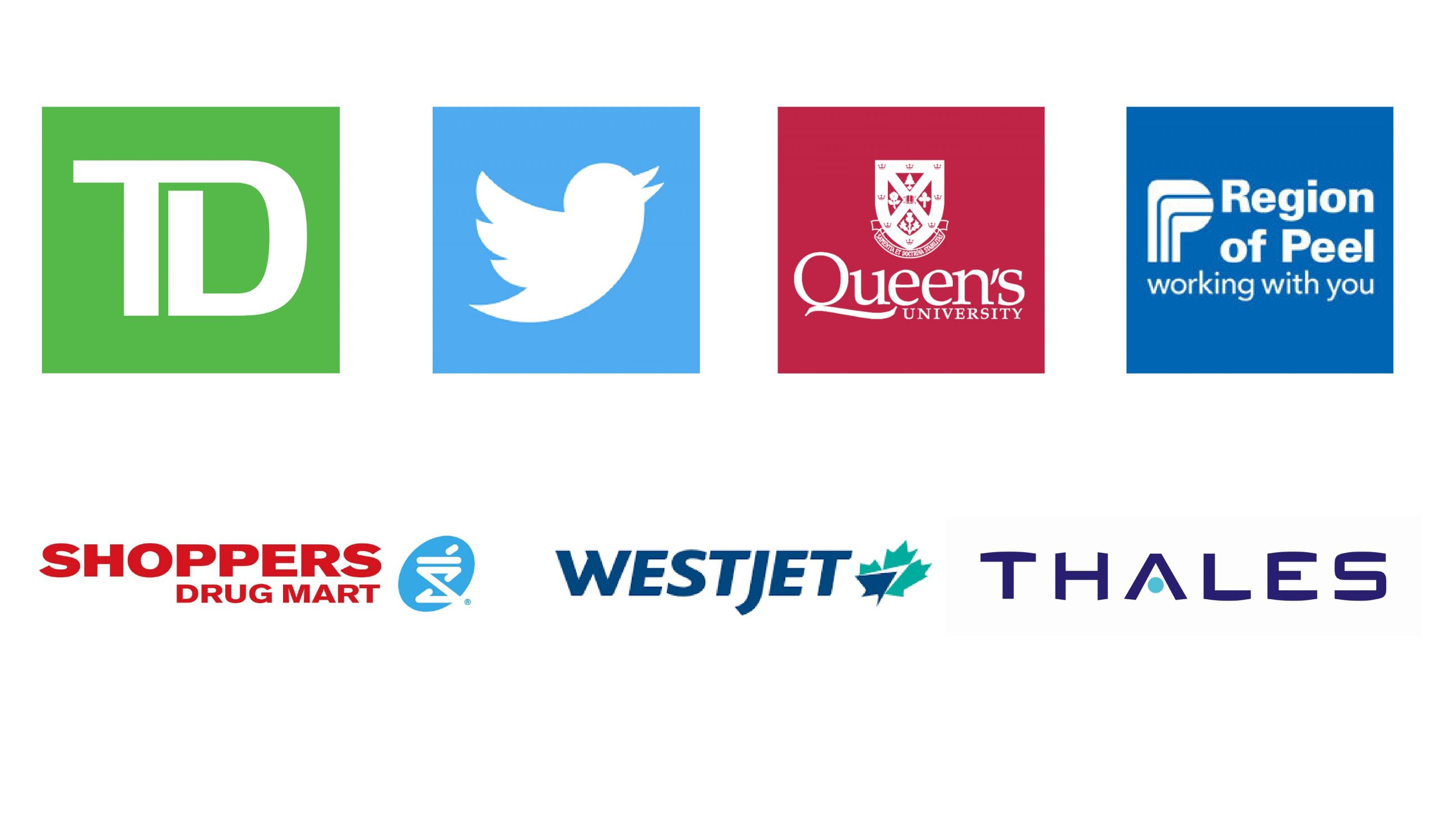 Logos include TD, Twitter, Queen's University, Region of Peel, Shoppers Drug Mart, WestJet, and Thales.